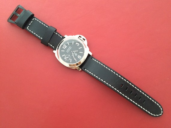 Leather Watch Strap 24mm, Black leather watch band, leather watch Band, 24mm watch band, 26mm, grow in the dark, Personalise Gift Idea
