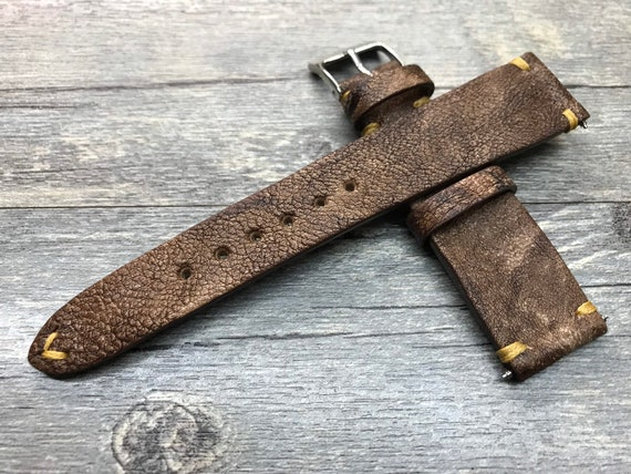 Mens Watch Band Leather, Brown Leather Watch Band Engraved, Watch Strap 20mm, Handmade Leather Watch Band, Christmas Gift for Husband Watch