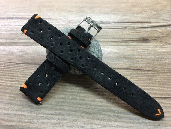 Handmade Leather watch strap, Suede grey Leather watch band, Rally Leather Watch strap, Racing Leather watch strap for