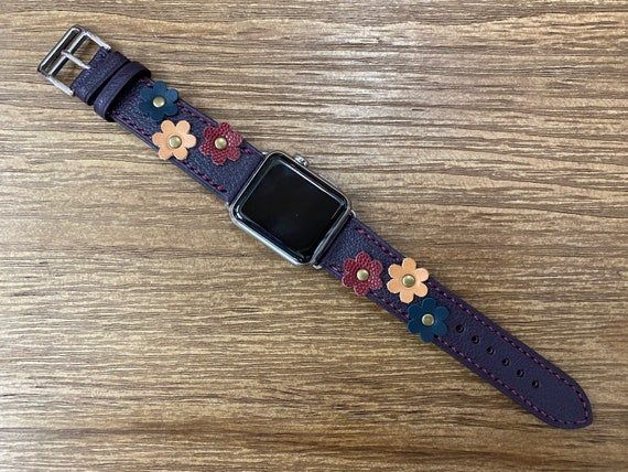 Chèvre Mysore Bleu Leather Apple Watch Band with Flower Decoration, iWatch Band 40mm Series 6, Apple Watch Band, Anniversary Gift Ideas