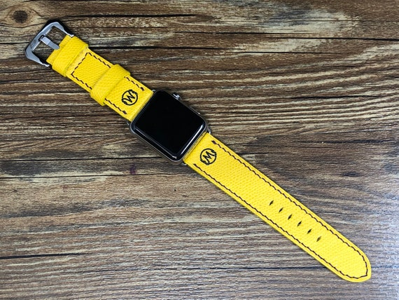 Yellow Apple Watch Straps, Apple Watch Band Series 6, Product Red, Aluminum Blue 44mm, 40mm, iWatch Band Leather Watch Straps, Personalise