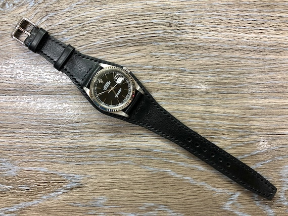 Black Leather watch Straps, Full Bund Straps 20mm, Mens Cuff Wrist Watch Band 19mm, Personalise, Black outfit, Christmas Gift ideas for him