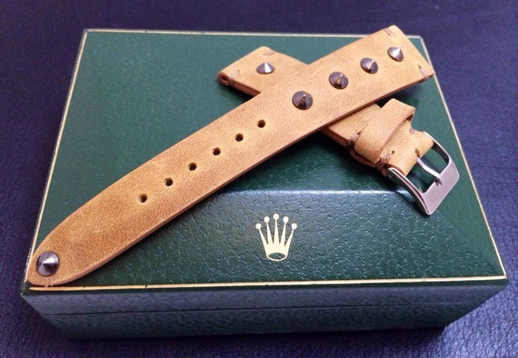 leather watch band, leather watch strap, 20mm watch band, 20mm strap, 19mm watch strap, 16mm buckle, khaki watch band, FREE SHIPPING