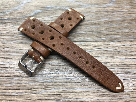 Rally watch Strap, Leather watch strap, brown watch strap 20mm, Racing watch strap, leather watch band, Custom watch strap 19mm, Gift idea