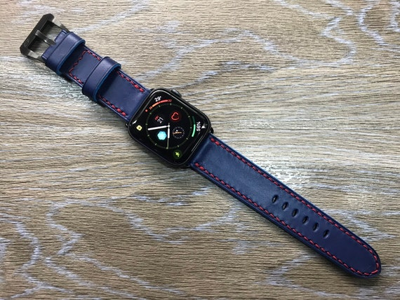 Apple Watch band, Apple Watch 40mm 44mm, leather watch strap, Apple watch 38mm, Apple Watch 42mm, Blue watch band, iwatch, FREE SHIPPING