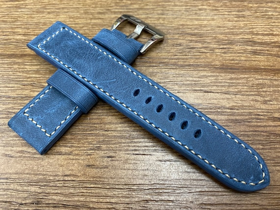 Leather Watch Straps 24mm 26mm, Vintage Blue Leather Watch Band in Genuine Leather, Personalise Gift Ideas for him, Mens Wrist Watch Band