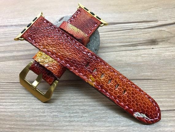 Apple Watch Band, Apple Watch Strap, leather watch band, Chili red leather watch Strap, Apple Watch 38mm, Apple Watch 42mm, iwatch