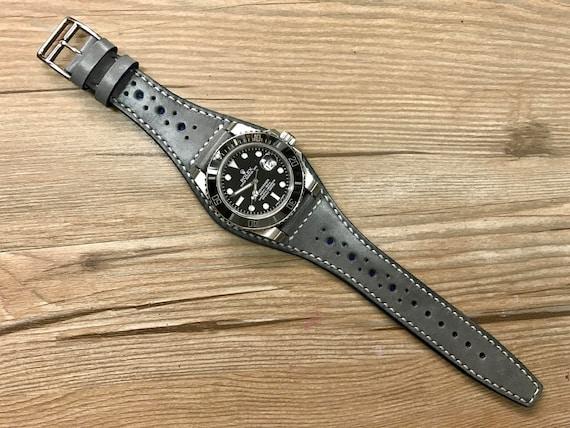 Leather watch Band, Full bund strap, 20mm strap, leather watch strap, Gray watch band, Brogue Pattern, 20mm watch band, FREE SHIPPING