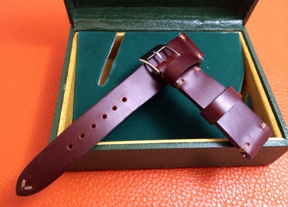 Leather Watch Strap, Red Brown Watch Band, Watch Strap 20mm, 19mm Watch Band Replacement