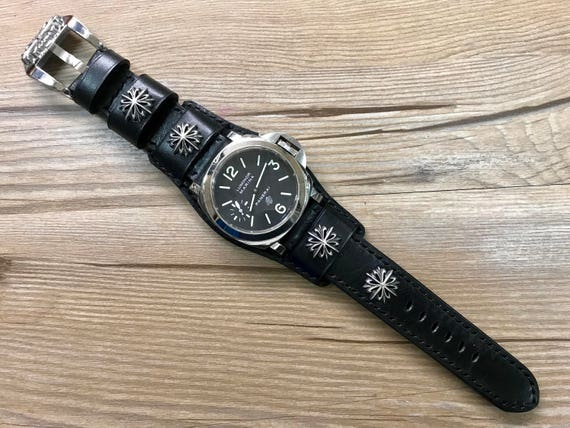 Leather Watch band, Wrist Watch Band, Full bund strap, Gift Ideas for boyfriend, Black Leather watch straps, Watch straps 24mm, Cuff band