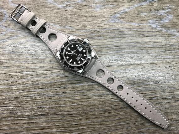 Leather watch band, Handmade, Gray, Full bund strap, Leather Cuff watch Strap 20mm, Racing Watch strap, Rally Watch Band, Cuff leather band