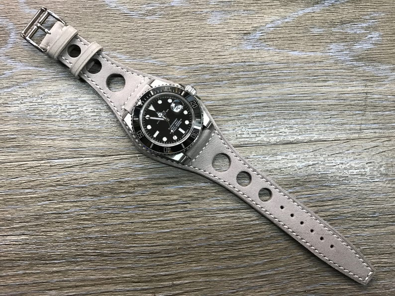 Leather watch band Handmade Gray Full bund strap Leather image 0