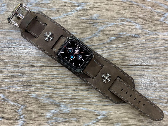 Brown Leather Apple Watch Band, Watch Straps for iWatch Series 6, Apple Watch 44mm 42mm Sterling Silver 925 Stud, Valentines Days Gift Idea
