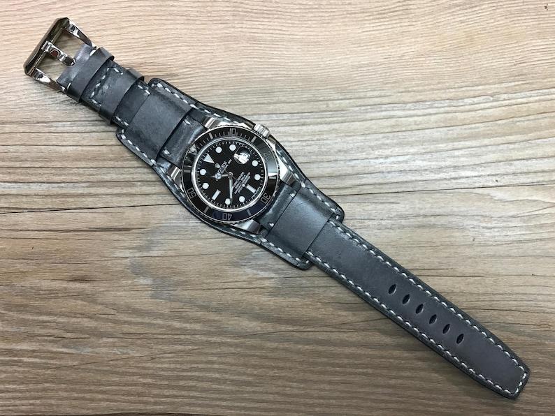 Full bund strap Leather watch strap Leather cuff watch band image 0