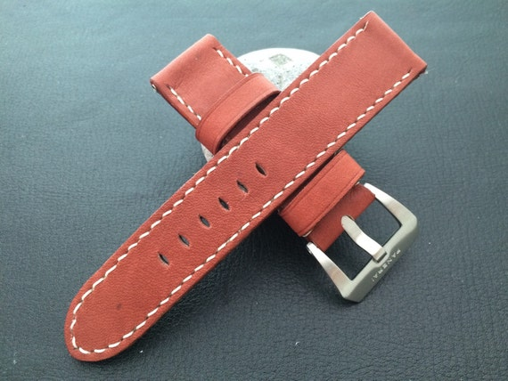 Red Clay Brown real Leather strap for 24mm lug width Watch - 24mm/22mm (fit for all 44mm watches model) - Best Deal and Quality!