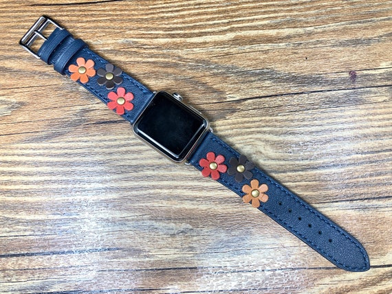 Apple Watch Series 5, Apple Watch Band for Ladies, Single Tour Rallye, Blue Encre, Apple Watch 40mm, Leather Watch Band, Apple Watch Strap