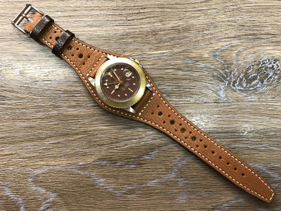 Handmade Leather watch band, Full bund strap, Leather Cuff watch Strap 20mm, Brown cuff watch band, Brogue pattern, leather watch band