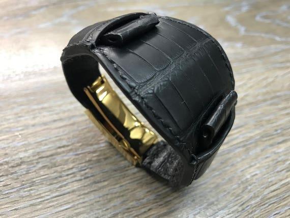 Full bund strap, Black, leather watch band, Gold Deployment Clasp, leather watch strap, Cuff watch band, 20mm watch Strap, FREE SHIPPING