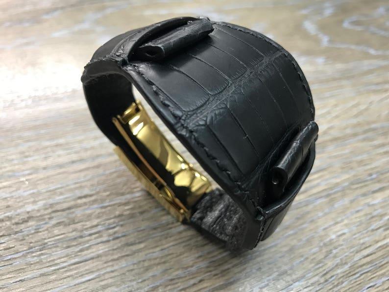 Full bund strap Black leather watch band Gold Deployment image 0