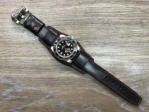 Black full bund strap, Handmade,  Leather Cuff watch band, Red, brogue pattern watch strap, 20mm, Bespoke, leather watch band, Free shipping
