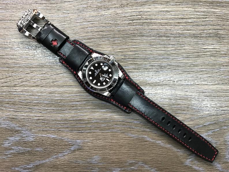 Black full bund strap Handmade  Leather Cuff watch band image 0
