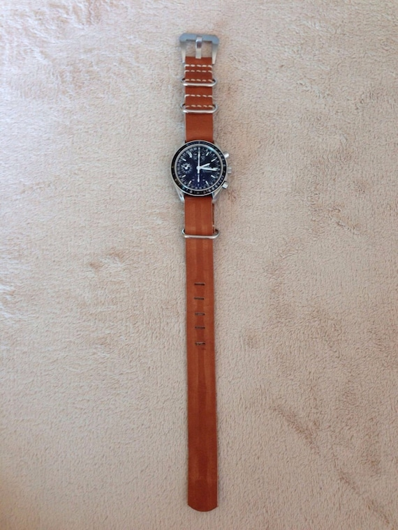 Leather watch band, Nato watch band, leather watch strap, 20mm strap, Brown watch strap, nato watch strap, 19mm watch band, FREE SHIPPING