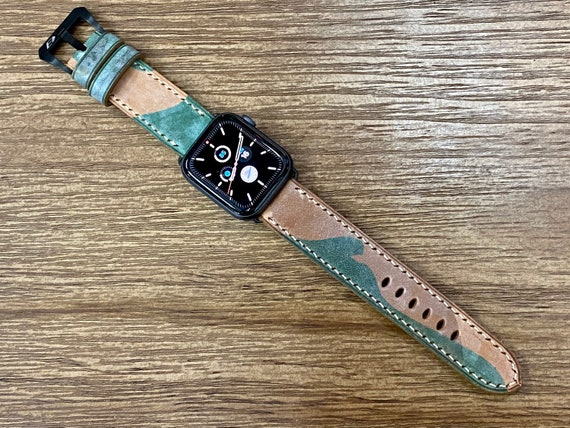 Genuine Leather Apple Watch Band iWatch 44mm 40mm Series 6 in Light Brown & Green Ghost Camouflage Pattern, Birthday Gift Ideas for him