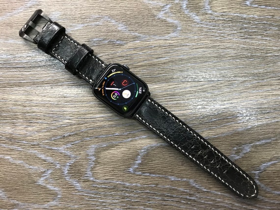 Distress Black Apple Watch band 44mm, 40mm for Series 5 GPS Cellular model - Space Gray, Rose Gold, Titanium & Stainless Steel Silver