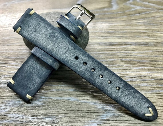 Leather Watch Strap 20mm, Leather Watch Band, Distress Blue wristband, 19mm watchband, 18mm Wrist watch strap, Valentines Day Gift