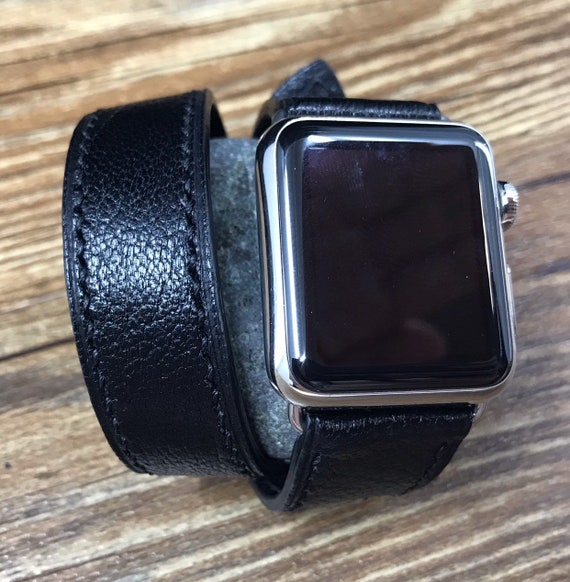 Apple Watch Band, black leather Double Tour, Apple watch 40mm, 38mm Leather Watch Band, Leather watch strap, FREE SHIPPING