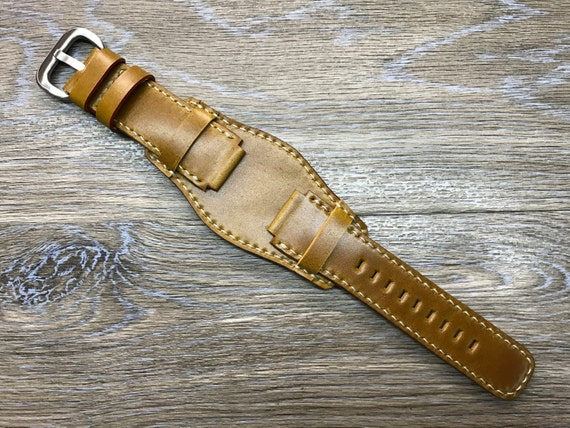 Horween Shell Cordovan cuff strap | Leather Cuff watch band | Leather Cuff watch Strap for new  Deepsea or watch in 21mm lug width