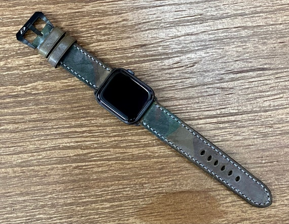 Grey Ghost Camouflage Pattern Apple Watch Band 44mm 40mm, Apple Watch Series 6, iWatch Band, Leather Watch Straps, Gift Ideas for him