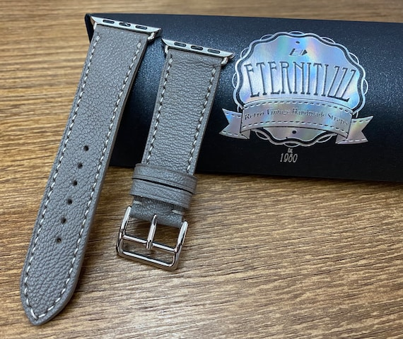 Apple Watch Band,  handmade Apple Watch Straps Gift ideas, Apple Watch 40mm 38mm Series 6, Elephant Gray leather, Personalise, iWatch Straps