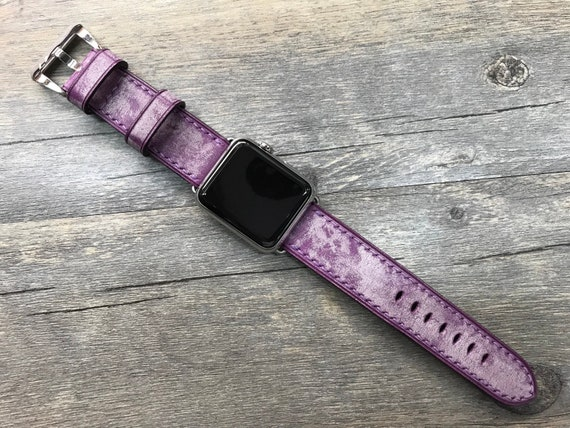 Apple Watch Band, Apple Watch Strap, Purple watch band, Leather Watch Band, apple watch 38mm, 40mm, 44mm, Apple Watch 42mm, FREE SHIPPING