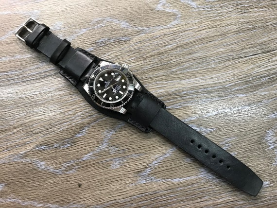 Leather Watch Strap, Full bund strap, 20mm watch band, Leather watch band, Cuff Watch band, Black watch band, 20mm, 19mm strap,FREE SHIPPING