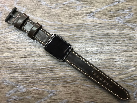 Apple Watch Band, Apple Watch Strap, Horween Shell Cordovan, DK Cognac, leather watch band, Apple Watch 38mm, 42mm, Series 3, FREE SHIPPING