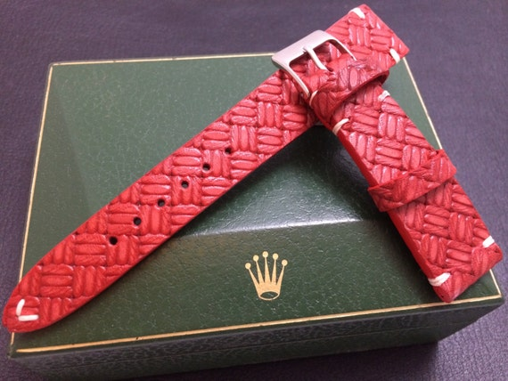 leather watch band, leather watch strap, cross pattern, red watch band, 19mm watch strap, 20mm strap, 20mm watch band, FREE SIPPING