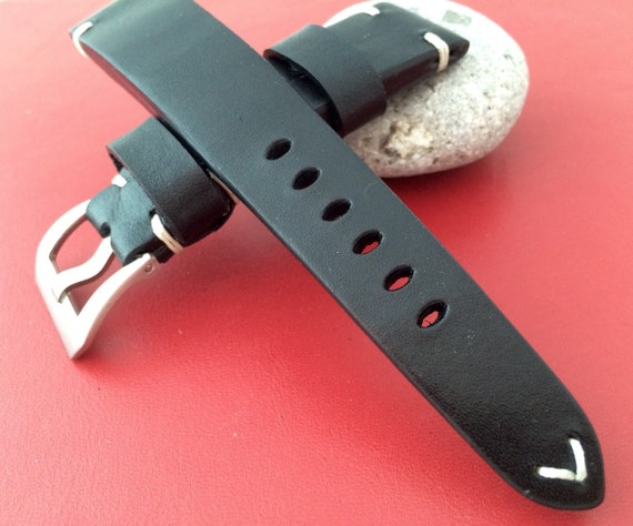 leather watch band, Leather watch strap, 22mm Watch band, 22mm strap, black watch band, geunine leather watch band, FREE SHIPPING