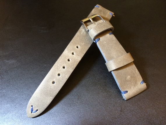Vintage Real Leather Strap for  | Leather watch band | Vintage watch strap | 19mm, 20mm watch strap | Grey Leather strap for IWC, Tudor