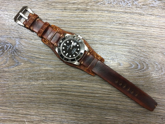 Leather Watch Band, Leather watch strap, Cuff band, Full bund strap, 20mm watch band, 19mm strap, leather craving watch strap, FREE SHIPPING