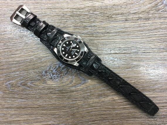 leather watch band, watch strap, Full Bund Strap, Genuine leather, cuff watch band, Leather watch Strap, 20mm, FREE SHIPPING