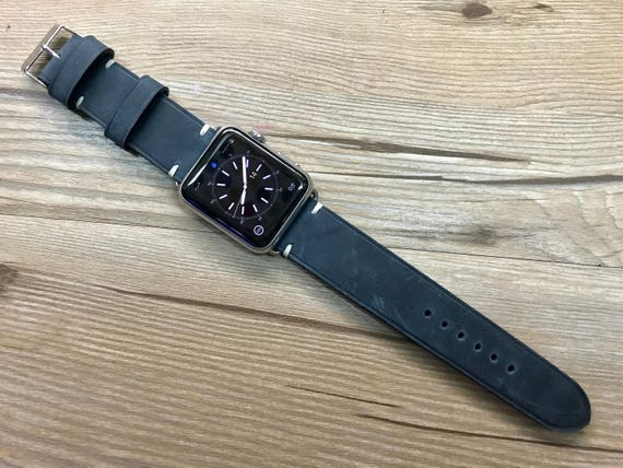 Apple watch Band 44mm, iWatch 40mm, Space Gray, Apple Watch Band, Valentines Day Gift idea, Vintage Blue Apple Watch Strap - Discount Item