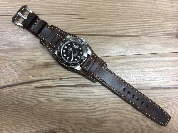 Leather Watch Band, Leather watch strap, Cuff band, Full bund strap, 20mm watch band, 19mm strap, Dark Brown watch strap, FREE SHIPPING