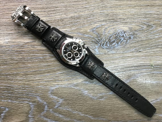 Leather Watch Strap, Full bund strap, Cuff Strap, Leather watch band, Cuff Watch band, Black, 20mm, Cuff band, FREE SHIPPING