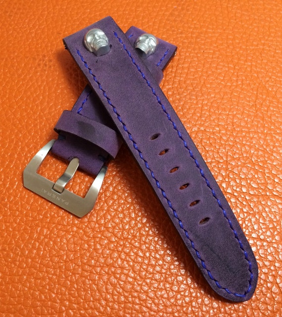 leather watch strap, 24mm watch band, leather watch band, Purple watch band, 24mm watch strap, 26mm strap, SKULL, watch band, FREE SHIPPING