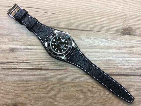Leather watch band, Black watch band, Leather watch strap, Full bund strap, 20mm Watch band, 20mm strap, Cuff leather band, FREE SHIPPING
