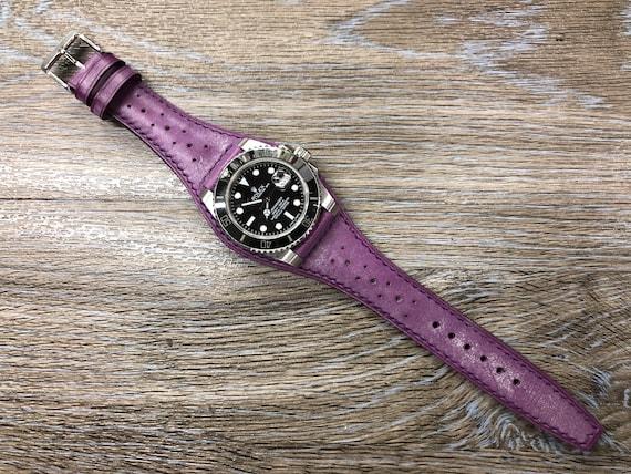 Purple Vintage Leather Full Bund Strap, 19mm cuff Mens Wrist Watchband, Brogue Pattern Leather Watch Strap, 20mm Personalise Watch Strap