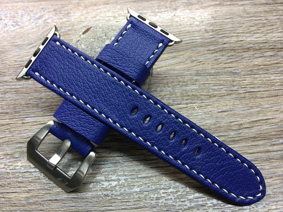 Apple Watch Band, Leather Watch band, Apple Watch 38mm, Apple Watch 42mm, iwatch, watch band, Blue Electric Palladium, FREE SHIPPING