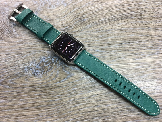 Apple Watch Strap | Apple Watch Band | Leather Watch Band | Leather Watch Strap | Army green Colour watch band For Apple Watch 38mm & 42mm