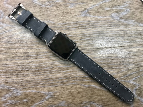 Apple Watch strap Apple Watch band iwatch band Apple Watch 38mm Apple watch 42mm distress Black Leather Watch Band FREE SHIPPING